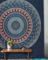 Tapestry On Bedroom Wall Large Blue Birds Bohemian Mandala Wall Tapestry Wall Hanging