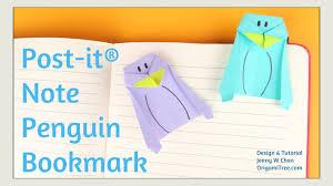 origami bookmark origami penguin bookmark post it note crafts