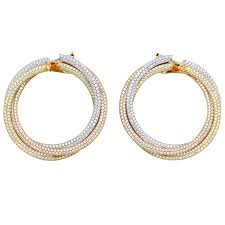 cartier diamond three color gold trinity large hoop earrings for