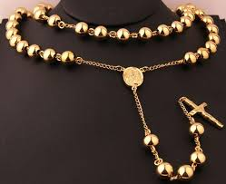 gold cross rosary necklace images Buy men 39 s religious jewelry gold heavy stainless jpg