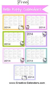free printable hello kitty calendars monthly and annual 2013