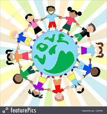 illustration of holding around world