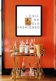 wall decor for home bar bar cart art call me old fashioned perfect for hanging over the