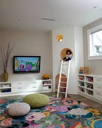 Playroom Area Rugs Playroom Large Floral Area Rug Knit Poufs Custom Play