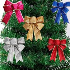 large glitter bows tree present decoration silver gold