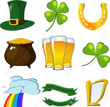 st patrick u0027s day set leprechaun hat four leaf clovers golden