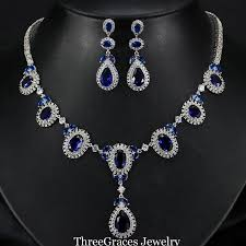 sapphire earrings necklace set images Elegant women big water drop sapphire dark blue cz diamond jpg