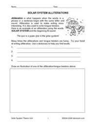 solar system writing conventions 3rd 4th grade worksheet