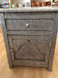 moroccan nightstand table in arabesque carved u0026 embossed silver