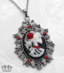 red gothic necklace images Gothic red crystal black lolita skull cameo pendant necklace art jpg