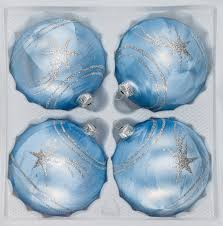 4 pcs glass balls set 3 15 inches ø in blue silver