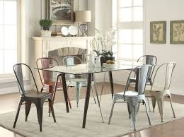 scandinavian dining room design with rectangle glass top dining