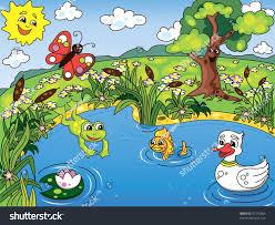 cartoon kids illustration pond life frog stock vector 97205564