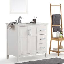 36 Inch Bathroom Vanity With Drawers by Wyndenhall Windham Grey 36 Inch Offset Bath Vanity With White