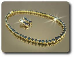 sapphire necklace yellow gold images 6mm blue sapphire necklace earrings set jpg