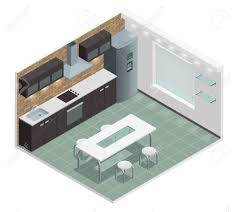 modern family kitchen isometric view with counter built in oven