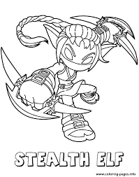 skylanders giants life series2 stealth elf coloring pages printable