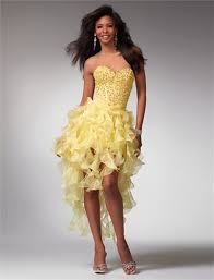clarisse prom dresses 1519 yellow short formal dress with ruffle