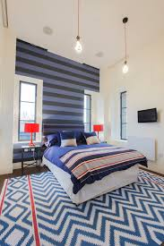 Striped Wallpaper Bedroom With White Blinds Bedroom Traditional - Boys bedroom blinds