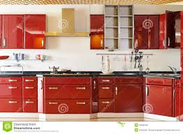 modern kitchen cabinet door a deep red 02 stock photo image