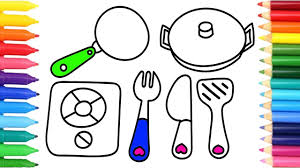 how to draw kitchen toys for girls coloring pages stove pan