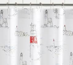 Sailboat Shower Curtains Lighthouse Print Shower Curtain Pottery Barn