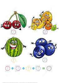 counting and addition math puzzle worksheet with cartoon fruits