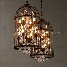 Vintage Crystal Chandeliers Vintage Crystal Chandelier Light Metal Cage Ceiling Fixtures