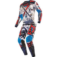 motocross gear set fox racing 2016 youth 180 vicious jersey and pant package blue