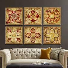 home decoration painting 4 piece canvas art moroccan style gold national decoration pattern