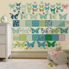 childrens butterfly patchwork wall stickers decals nursery girls images