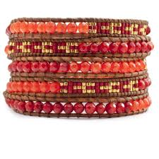red wrap bracelet images Coral jade seed beaded wrap bracelet artisan boho jewelry jpg
