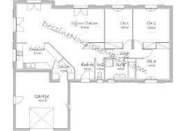 plan de maison en l avec 4 chambres plan de maison traditionnelle gratuit plan maison plain pied 3 4