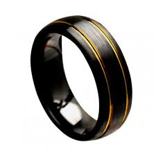 domed ring black ceramic ring domed ring brushed yellow gold plated grooves