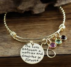 Personalized Bangle Bracelets Love Between A Mother And Daughter Is Forever Personalized Bangle