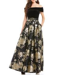 eliza j eliza j the shoulder velvet bodice brocade gown dillards
