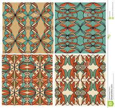 set of colorful geometric patterned tiles in nostalgic retro