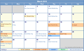 march 2016 calendar with us christian muslim holidays