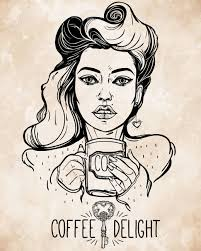 beautiful pin up with a cup vector illustration