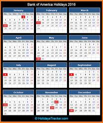 bank of america holidays 2016 holidays tracker