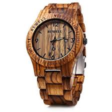 bewell w086b mens wooden analog quartz