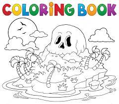 coloring book pirate skull island vector illustration klara