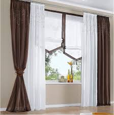 White And Brown Curtains 140cmw Europeanism White Brown Grey Color Tulle Yarn Voile Blind