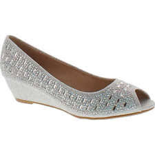 anette silver low heel wedge peep toe womens dress wide width