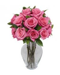 Free Vase 1 Dozen Long Stem Pink Roses With Free Vase