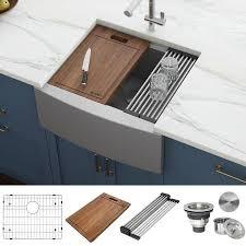 24 inch wide kitchen sink base cabinet ruvati verona farmhouse apron front 24 in x 22 in stainless steel single bowl workstation kitchen sink