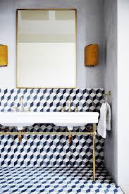 Contemporary Bathroom Wall Sconces Contemporary Wall Sconces Installed In The Bathroom With Geometric