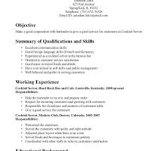 Bartenders Job Description For A Resume by Server Bartender Objective Resume Serving Resume Free Resume