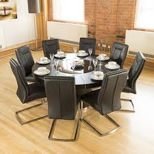 Luxury Large Round Black Oak Dining Table  Amazing Thick Back - Black dining table for 8