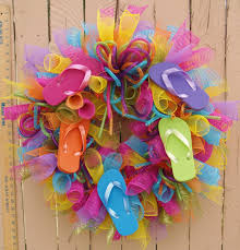 flip flop wreath summer flip flop deco mesh wreath by southernaccentsetc on etsy